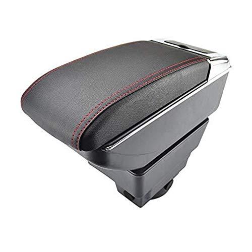 Dual-Layer-Schwarz-Leder-Armauflagen Mittelkonsole Aufbewahrungsbox Armlehne Für Opel Astra J 2009-2020 Auto Armlehnenbox Mittelkonsole (Color : Schwarz mit rotem Faden)