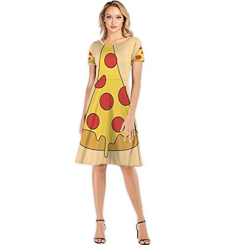 C COABALLA Cartoon Pizza with Text Italy,Woman Fashion Apparel Evening Dress Ukraine S