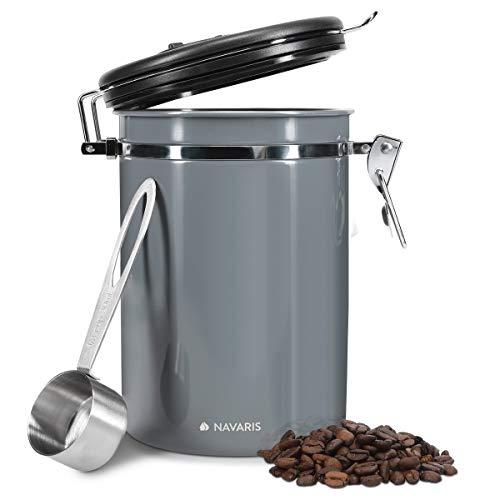 Navaris Kaffeedose 1800ml inkl. Löffel und 3x Ventile - Dose für Kaffeebohnen gemahlener Kaffee - Aromadose mit Filter - Vorratsdose Aufbewahrung