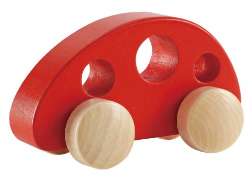Hape Mini Van Wooden Toddler Toy Vehicle in Red, L: 4.9, W: 2.5, H: 2.8 inch