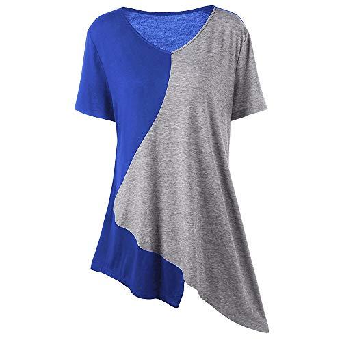 FELZ Camiseta Mujer Manga Corta Camiseta con Cuello en V de Gran tamaño Casual Blusa Suelta de Patchwork asimétrico Tops de Verano Irregulares Camisetas Personalizadas Basica tee