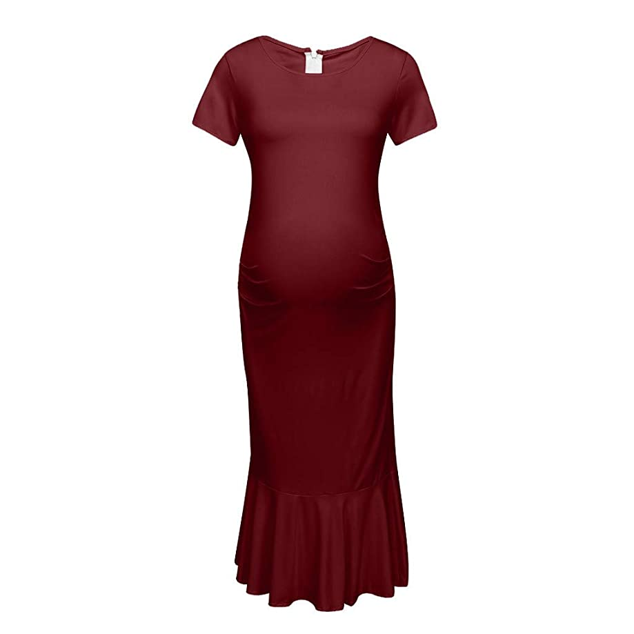 RIUDA Bodycon Solid Casual Pregnancy Clothes Cotton Ruched Sides Maternity Dress
