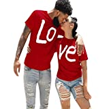 REDWOON Valentine's Day Couples Matching Shirts Set Matching Men Women Letter Print Love Couple T-Shirt Blouse Tops Clothes (Red-LO/Men, XXXL)
