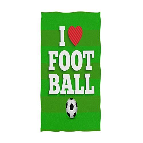 ZXYAIAN I Love Football Football Football - Toallas de mano decorativas para el hogar, diseño de rayas, color azul, muy absorbente, para baño, hotel, gimnasio y spa (40,6 x 76,2 cm)