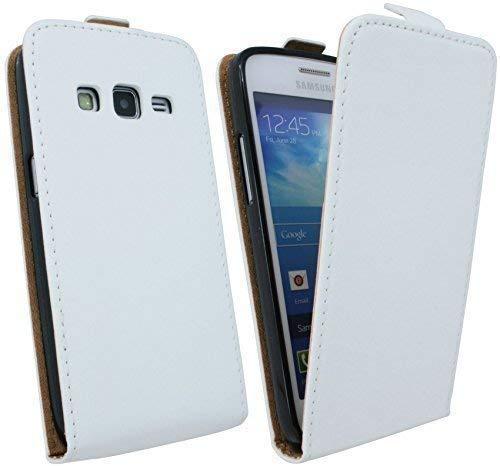 ENERGMiX Handytasche Flip Style kompatibel mit Samsung Galaxy Express 2 G3815 in Weiß Klapptasche Hülle