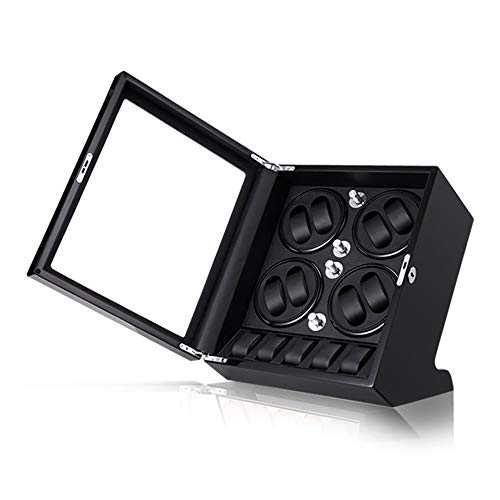 Scatola Carica Automatica Orologi 8 + 5, Watch Winder Box, Wood Shell Piano Paint Exterior, Grande Capacità, Motore Silenzioso, Orologi Donna Uomo Adatti (Color : Black+Black)