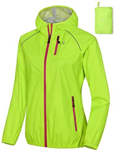 Little Donkey Andy Women's Waterproof Cycling Bike Jacket with Hood, Running Rain Jacket, Windbreaker, Ultralight Packable Yellow Size M