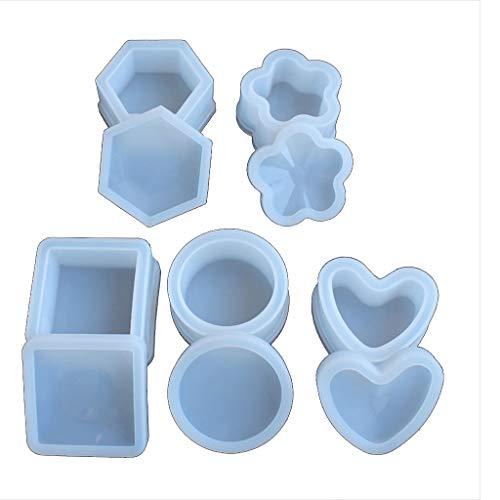 N/A. 5 moldes de silicona epoxi de resina con tapas, moldes de silicona para manualidades, monedas, llaves, cenicero, almacenamiento de pendientes, anillos, herramientas para hacer joyas