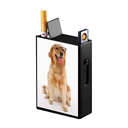 タバコケース 20本収納 USB充電式 ライター ポケット 無炎 防風 電子ライター 火が出ない ガス・オイル不要シガレットケース (犬)