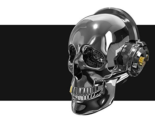 MHKBD Altavoz Inalámbrico De Cráneo, Altavoz Inalámbrico De Decoración De Halloween Bluetooth Cool Skull Artwork Altavoz para Fiesta En Casa/Oficina/Negocio/Dormitorio/Al Aire Libre C
