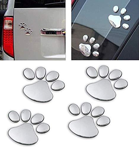 NewL 4PCS Schwarz 3D Chrom Hundepfote Footprint Aufkleber Aufkleber Auto Auto Emblem Aufkleber Dekoration (Silber)