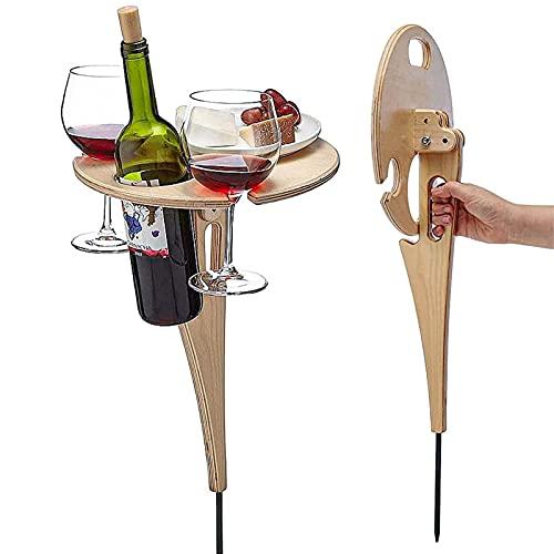 Shujin Weintisch im Freien mit Flaschenhalter Faltbarer runder Mini-Picknicktisch aus Holz Picknick-Tisch Mini-Klapptisch für Garten Outdoor Camping Picknick Strand (Holzfarbe)