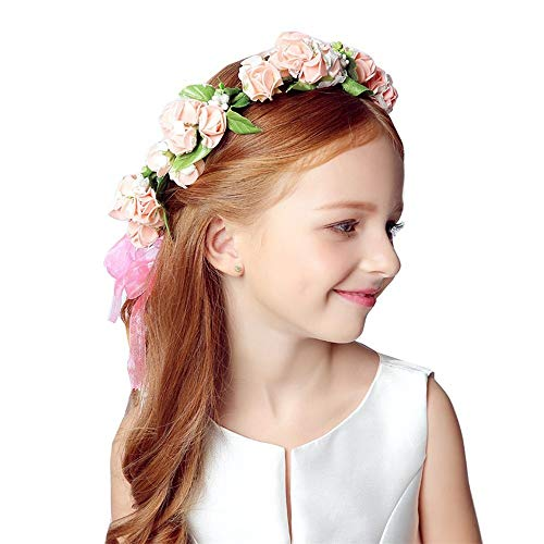 Blooming flowers Artificial Flowers Bridal Tiara Garland Hair Female Hair with Sweet Rose Flower Head Wreath Photo Studio Holiday (Color : Pink)
