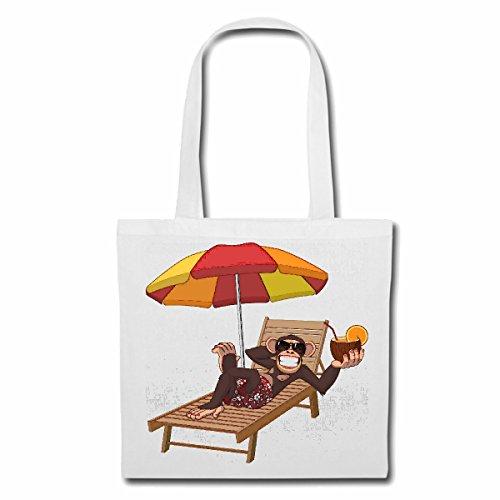 Tasche Umhängetasche LUSTIGER AFFE MIT Cocktail IN Kokosnuss UND LIEGESTUHL Sonnenschirm Monkey Schimpanse AFFE Gorilla SILBERRÜCKEN MENSCHENAFFE Charly AFFEN King Kong Einkaufstasche Schulbeutel T