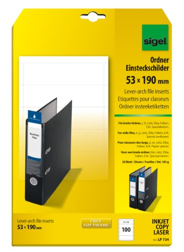 SIGEL LP734 Ordner-Einsteck-Schilder breit (A4, 100 Stück, 53x190 mm) 20 Blatt weiß