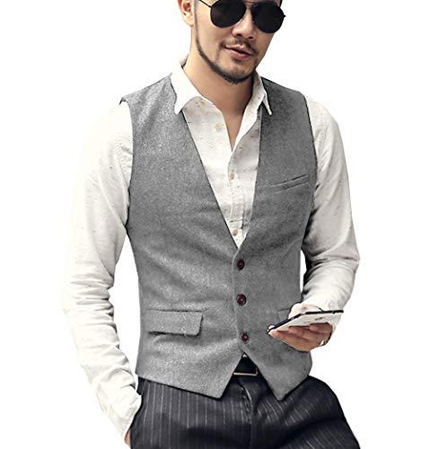 Solove-Suit Chaleco de Traje Formal para Hombre, diseño de espiguilla, Ajuste Delgado, para Novios de Boda Plateado Plata 3XL