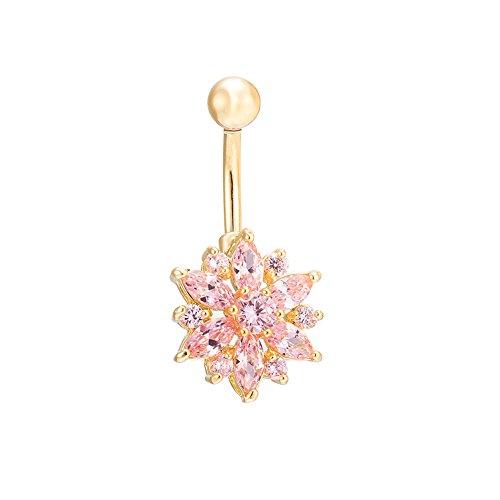 Jardin Rêvé Piercing Nombril Courbe Arcade Cristal Strass Barbell Anneau Belly Ring (rose)