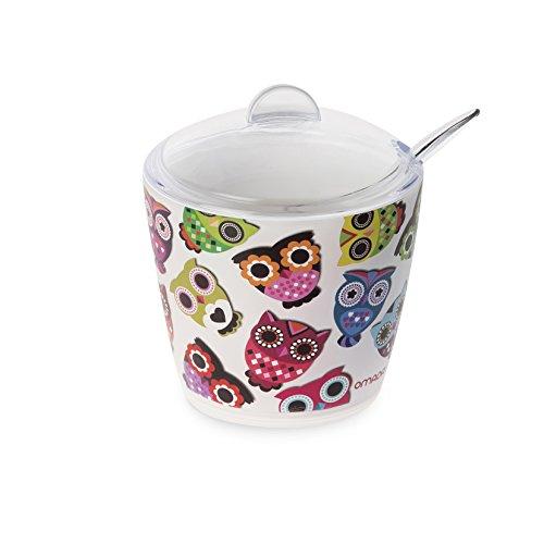 Omada Design Zuccheriera o porta zucchero, da 25 cl, in plastica infrangibile e lavabile in lavastoviglie industriali, utilizzate da bar e ristoranti, con decoro INDELEBILE, Linea Plexart