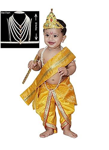 Raj Fancy Dresses Baby Krishna Brocade Fabric Janmashtami Mythological Character Costume 3