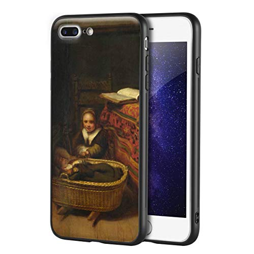 Berkin Arts Nicolaes Maes for iphone 7 plus&iphone 8 plusArt Cellphone Case/GicleeUVReproductionPrintonMobilePhoneCover(A Little Girl Rocking A Cradle)