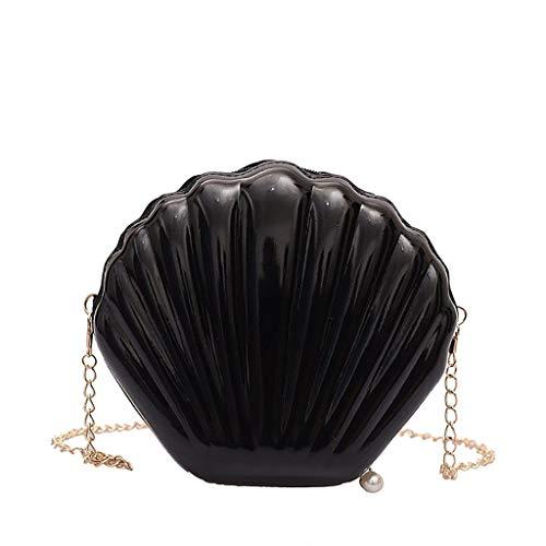VJGOAL Damen Rucksack, Frauen Mädchen Mode Muscheltasche Volltonfarbe Kette Schulter Messenger Bag … (One size, Schwarz)