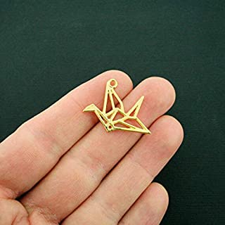 10 Origami Crane Charms Gold Tone 2 Sided - GC1017 - Jewelry Accessories Chain Bracelet Necklace Pendants