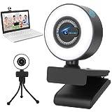 Webcam per PC 2K, Webcam PC con Microfono con Luce ad Anello, Webcam USB con Privacy e Tre...