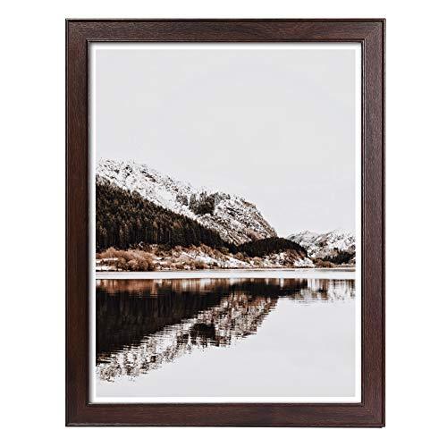 Metrekey Holz Posterrahmen 46x61 cm (18 x24 Zoll), Brown Bilderrahmen mit Plexiglas zum Poster Kunstdrucke Hochzeitsfoto Familienfoto Abschlussfoto