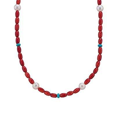 American West Jewelry Sterling Silver Red Coral, Turquoise and Pearl Gemstone Beaded Necklace 17 to 21 Inch