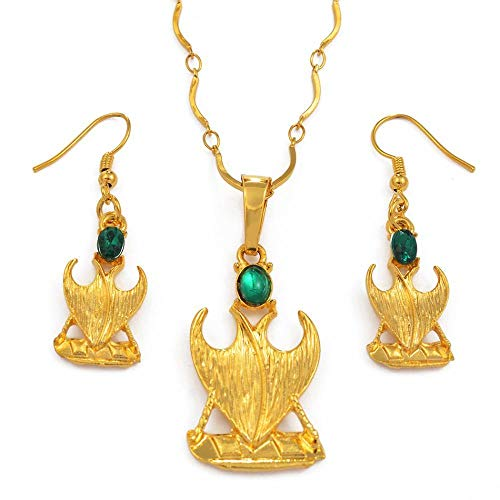 N/B Goldene Papua-Neuguinea Ethnische Anhänger Halskette / Ohrring Mit Greenstone, Mode Halskette Geschenk # 092506