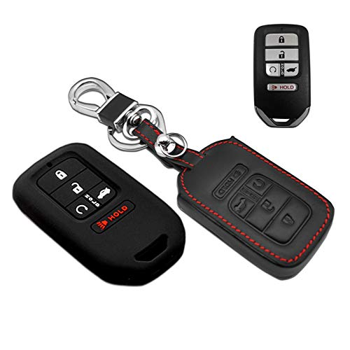 Compatible with fit for 2018 2017 2016 2015 Honda Accord Civic CR-V CRV Pilot EX EX-L Touring Premium A2C81642600 Leather Case Protector Key Fob Cover Smart Remote Holder, Bonus-Robber Case&Key Ring
