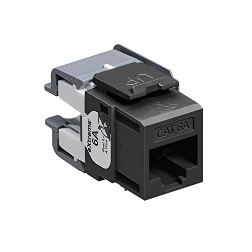 Leviton 6110G-RE6 eXtreme Cat 6A QuickPort Jack, Channel-Rated, Black