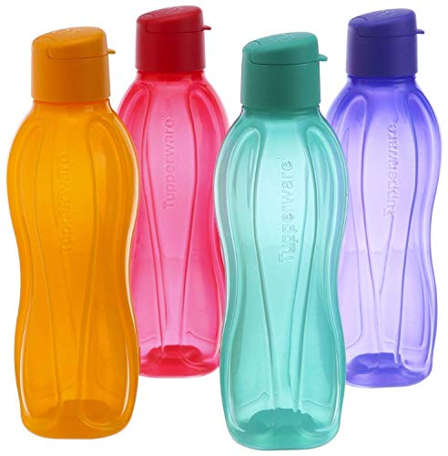 Tupperware Fliptop - Juego de botellas de plástico (1 L, 4 unidades), multicolor