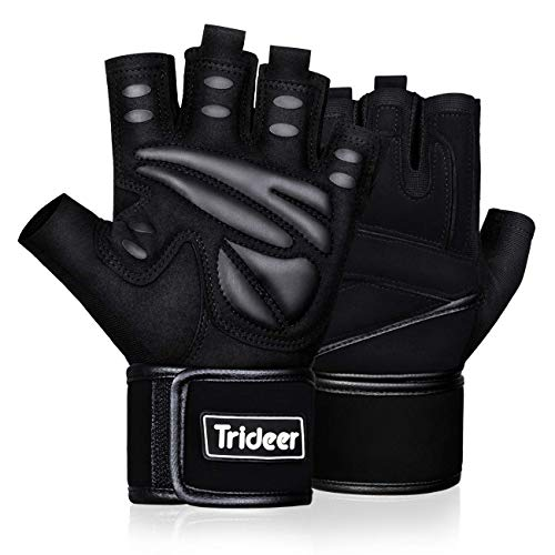 Trideer Padded Weight Lifting Gym Workout Gloves with Wrist Wraps, Exercise Lifting Gloves for Weightlifting, Cross Training, Fitness, Pull ups, Made of Durable Nylon and PU (Black, X-Large )