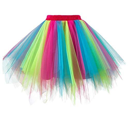 GirstunmBrand Damen 50er Vintage Tüllrock Petticoat Mehrfarbig Bubble Tanzkleid Rock Regenbogen-S/M