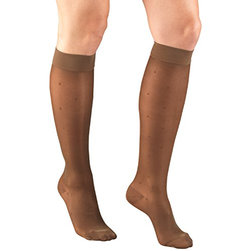 Truform Sheer Compression Stockings, 15-20 mmHg, Womens Knee High Length, Dot Pattern, Espresso, Small