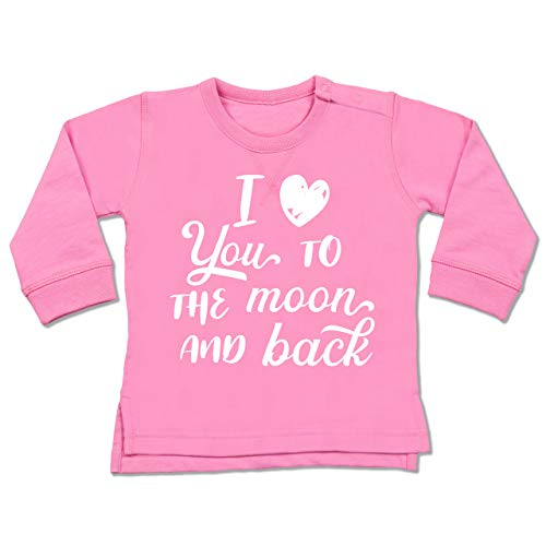 Shirtracer Valentinstag Baby - I Love You to The Moon and Back weiß - 12/18 Monate - Pink - BZ31_Baby_Pullover - BZ31 - Baby Pullover