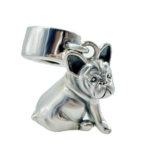 Bolenvi French Bulldog Bull Dog 925 Sterling Silver Clip-On Dangle Pendant X Charm Bead for Pandora & Similar Charm Bracelets or Necklaces