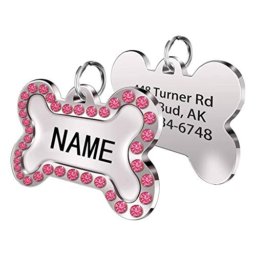 Cerolopy Custom Pet ID Tags with Crystals Inlaid, Personalized Dog Tags and Cat Tags, Add Your Own Text for Your Dog or cat( Pink)