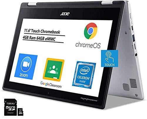 Acer Chromebook Spin 311 convertible laptop, 11.6' Touchscreen Notebook, Intel Celeron Dual-Core N4000, 4GB RAM 64GB (Google Classroom or Zoom Compatible), Chrome OS, Bundled TSBEAU 16GB Micro SD Card