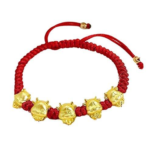 Mascota de oro Cinco vacas Pulsera de hilo rojo Mujeres Hombres Niñas Cuerda ajustable Trenzada Buena suerte Brazalete Buey chino Año nuevo Riqueza Joyería Regalos