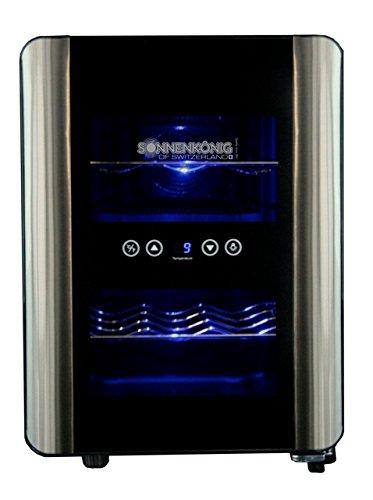 Sonnenkönig of Switzerland Cava 12 Mono Weinkühlschrank / 58.0 cm Höhe/Ausführung aus Edelstahl und Glas/Innenbeleuchtung/silber/schwarz