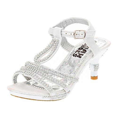 Festliche Mädchen Pumps Sandalen Absatz Glitzer Mädchenschuhe in vielen Farben M318ws Weiß Gr.24