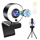 1080P HD Webcam with Microphone and Ring Light, Banral USB Wireless Web Camera Plug and Play,Adjustable Brightness,Privacy Protection,Streaming Webcam with Tripod, for PC Laptop, MAC, Zoom Skype