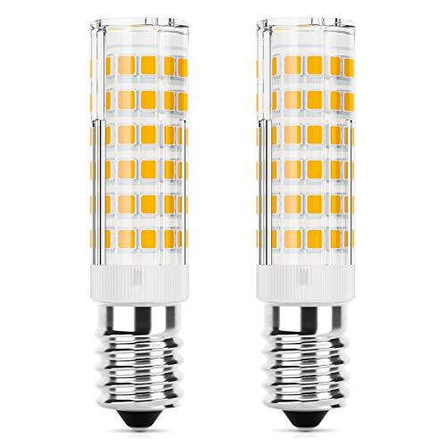 DiCUNO E14 LED Lampadina 5W (equivalente alogeno 50W), 550LM, Bianco caldo (3000K), base in ceramica E14, piccola vite non dimmerabile per cappa da cucina, confezione da 2