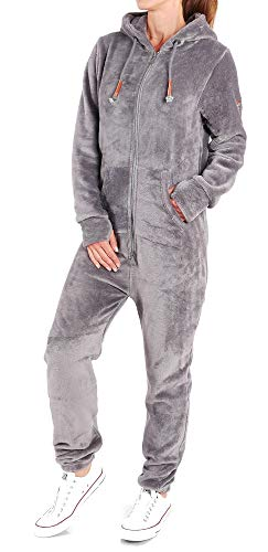 Finchgirl F2001 Damen Jumpsuit Teddy Fleece Dunkelgrau Gr. XL