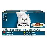 purina gourmet, perle, pregiato cibo per gatti, filettini di carne di pollo, manzo, salmone e coniglio, cibo umido di alta qualità, 60 pezzix 85g per og