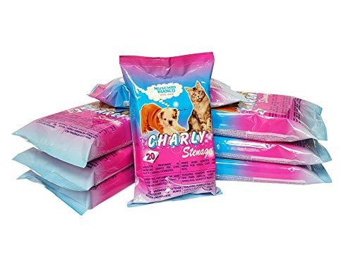 Stenago - Toallitas para perros, gatos y animales domésticos - Pelo brillante y brillante - También para ojos y orejas - Toallitas desinfectantes - 8 paquetes de 20 toallitas (160 unidades)