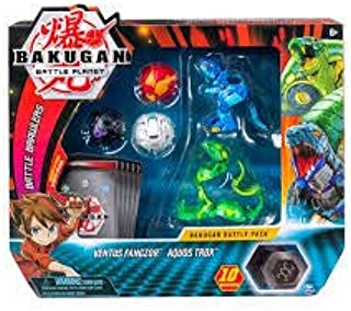 Bakugan, Battle Pack 5-Pack, Ventus Fangzor and Aquos Trox, Collectible Cards & Figures, for Ages 6 and Up