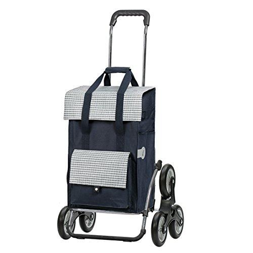 Andersen Einkaufstrolley Royal Treppensteiger Stahlgestell klappbar und 49 Liter Einkaufstasche Milla blau